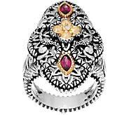 Barbara Bixby Sterling & 18K Filigree Gemstone Ring - J334186
