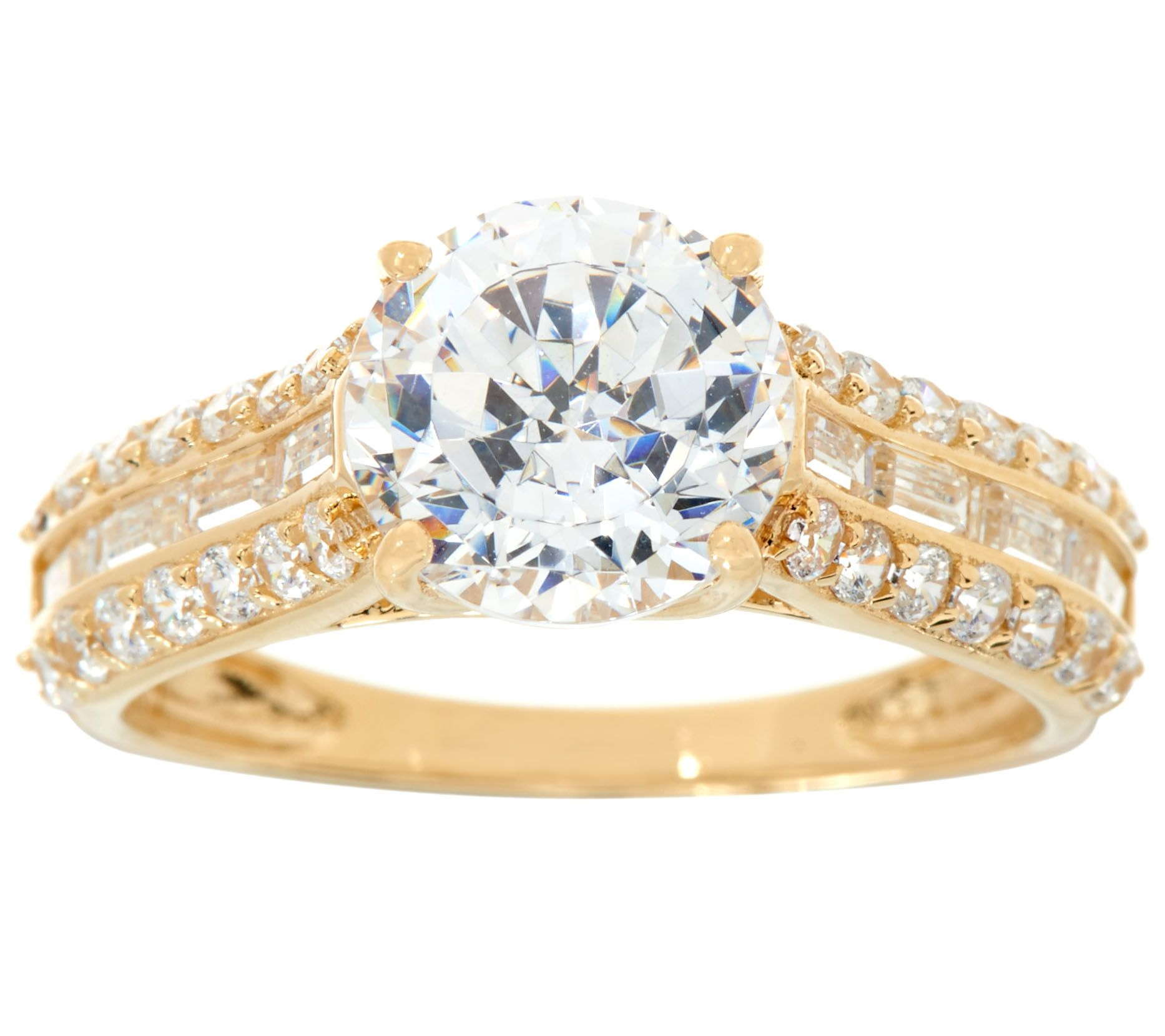 diamonique and baguette bridal ring 14k gold page