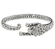 JAI Sterling Silver Leopard Hinged Cuff Bracelet, 31.6g - J346286