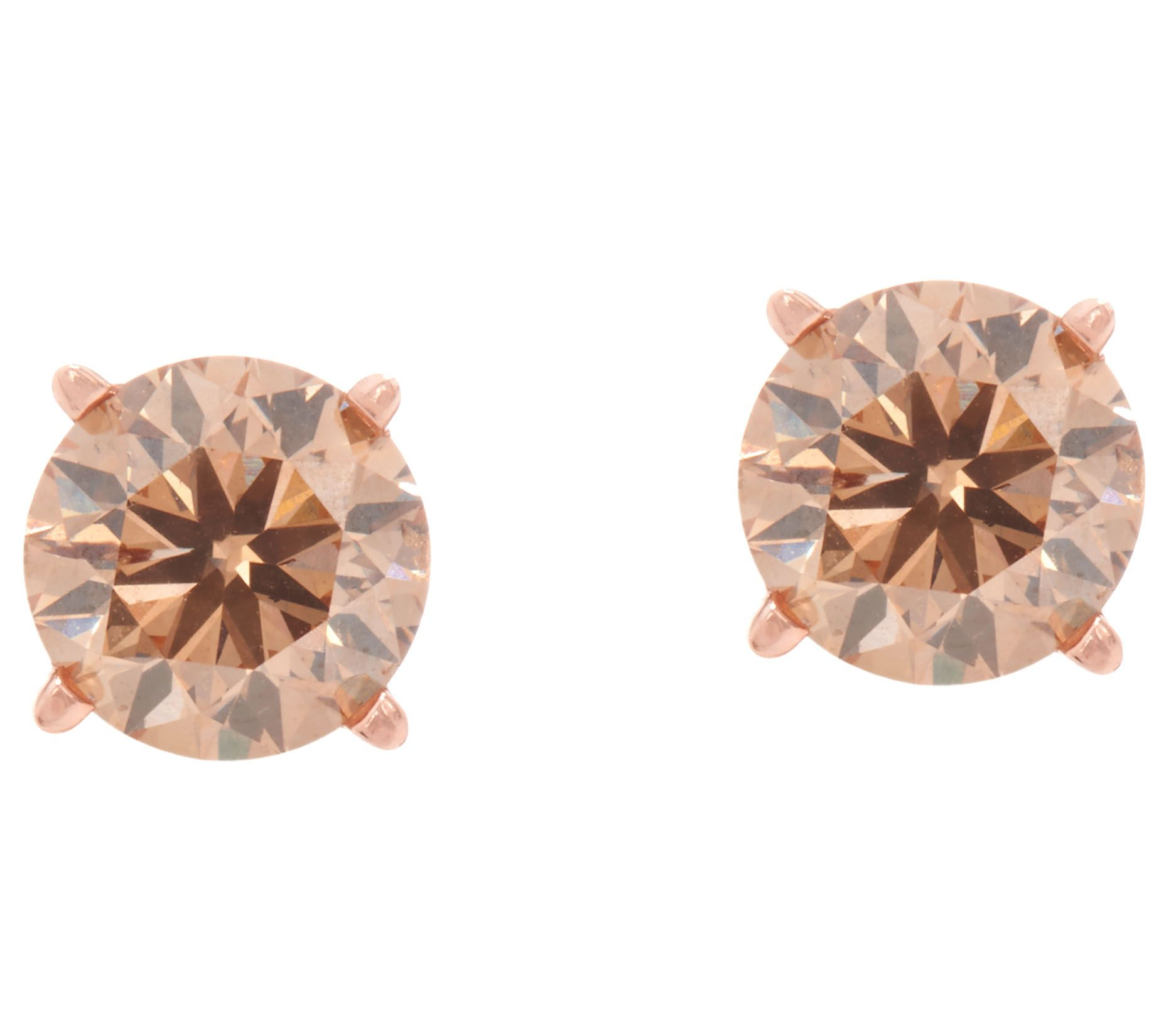earrings cognac colored champagne diamond champaigne pave stud front pav