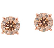 Champagne Diamond Round Stud Earrings 14K, 9/10 cttw by Affinity - J349086