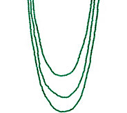 JAI Sterling Silver 72 Green Agate Bead Necklace - J350286