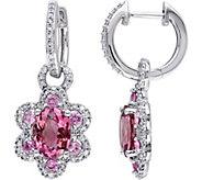 14K 3.30 cttw Gemstone & 1/2 cttw Diamond Flower Earrings - J377186