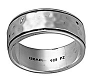 Or Paz Sterling Mens Hammered Band Ring w/ Border - J377786