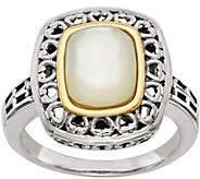 Sterling & 14K White Mother of Pearl Ring - J377986