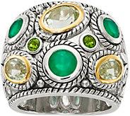 Sterling & 14K Multi Gemstone Wide Ring - J378186