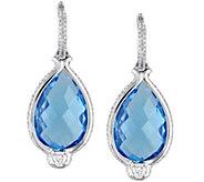 14K 16.80 cttw Blue Topaz & 1-1/10 cttw DiamondEarrings - J378486