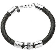 Or Paz Sterling 8-1/2 Mens Braided Leather Br acelet - J378886