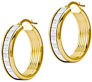 Italian Gold 1-1/8 Glitter Hoop Earring 14K - J382186