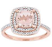 14K Gold 1.65 cttw Cushion-Cut Morganite & Diamond Halo Ring - J382486