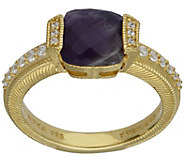 Judith Ripka 14K Clad Cape Amethyst & Diamonique Ring - J383586