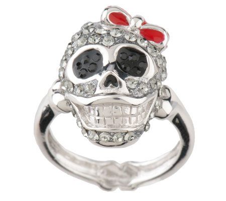 David Sigal Sterling Crystal Happy Skull Ring