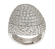 Italian Silver Sterling Pave Crystal Domed Ring - J278887