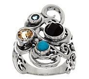Carolyn Pollack Multi-Gemstone Sterling Swirl Design Elongated Ring - J279087