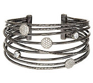 Italian Silver Sterling Large Bold Polished Multi-Row Diamonique Cuff - J284187