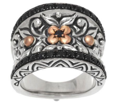 Barbara Bixby Sterling & 18K Rose Gold Black Sapphire Band Ring