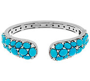 Judith Ripka Sterling Sleeping Beauty Turquoise & Diamonique Cuff - J287387
