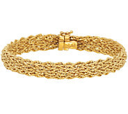 18K Gold 7-1/4 Multi- Row Braided Woven Rope Bracelet, 7.8g - J290287