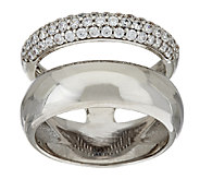 Bronze Pave Crystal Double Band Ring by Bronzo Italia - J322787