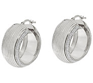VicenzaSilver Sterling 1 Ribbed Pave Glitter Round Hoop Earrings - J322987