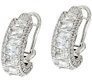 Judith Ripka Sterling Diamonique Baguette Hoop Earrings - J323387