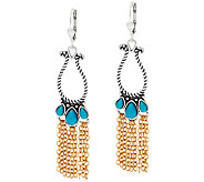 Sterling/Brass Turquoise Chain Dangle Earrings by American West - J323987