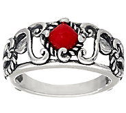 Carolyn Pollack Sterling Silver Signature Red Coral Band Ring - J328187