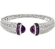 Judith Ripka Sterling Silver 8.25 cttw Amethyst Cuff Bracelet - J328787
