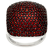 Pave Red Garnet Bold Sterling Silver Ring, 4.00 cttw - J330287