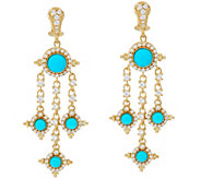 Judith Ripka 14K Clad Turquoise Diamonique Drop Earrings - J330487