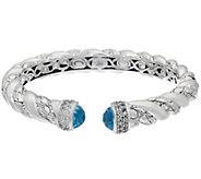 JAI Sterling Blue Topaz Croco Texture Hinged Bracelet - J332787