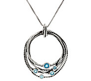 Sterling Silver Multi-Row Gemstone Pendant w/Chain by Or Paz - J333587