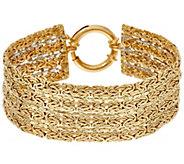 14K Gold 6-3/4 4-Row Reversible Byzantine Bracelet, 12.8g - J334487