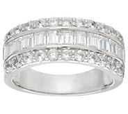 Diamonique Round and Baguette Band Ring, Platinum Clad - J334887