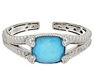 As Is Judith Ripka Sterling Turquoise Doublet & Diamonique Cuff - J335487
