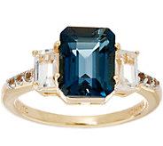 Emerald Cut London Blue Topaz & White Topaz Sterling Ring, 2.90 cttw - J335587