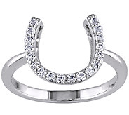 1/2cttw White Topaz Horseshoe Ring, Sterling - J338087