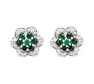 Choice of Gemstone & Diamond Flower Earrings, 1 4K White Gold - J338487