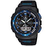 Casio Mens Twin Sensor Analog-Digital Blue Accented Watch - J338587