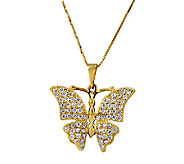 14K Gold Crystal Butterfly Pendant w/ 18L Chain by Adi Paz - J339487