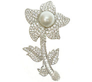 Judith Ripka Sterling Pearl & Diamonique FlowerPin - J340187