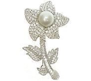 Judith Ripka Sterling Pearl & Diamonique FlowerPin - J340187