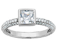 Diamonique Sterling Bezel-Set Cushion Solitaire Stack Ring - J340787