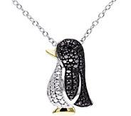 Black Diamond Accent Penguin w/ Chain, Sterling - J343887