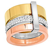 Stainless Steel Tri-Color Crystal Ring - J344487