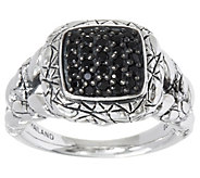 JAI Sterling Silver Pave Gemstone Croco Texture Ring - J346287