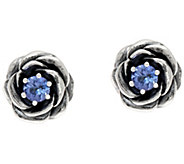 Sterling Silver Tanzanite Rose Earrings by Or Paz - J347087