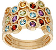 Multi-Gemstone Bubble Ring 14K Gold 1.20 cttw - J348587