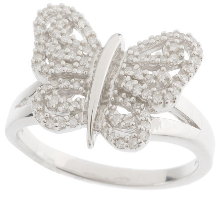 AffinityDiamond 1/4 ct tw Sterling Pave' Butterfly Ring