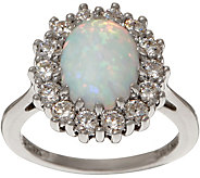 Diamonique and Simulated Opal Halo Ring, Sterling - J351887